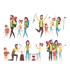 family traveling happy couples with kids hiking vector image