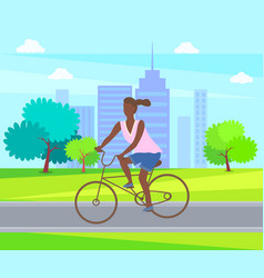 Female ride on cycle active life woman cycling vector