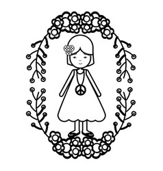 Figure peace and love woman with flowers branches vector