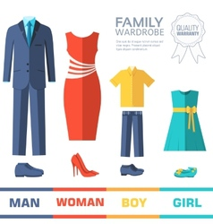 Flat collection style fashion clothing for family vector