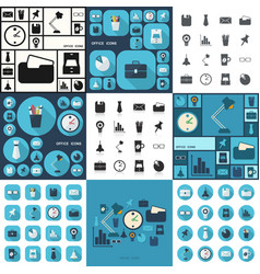 Flat concept set modern design with shadow office vector