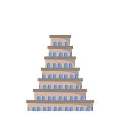 flat icon of the tower of babel vector image