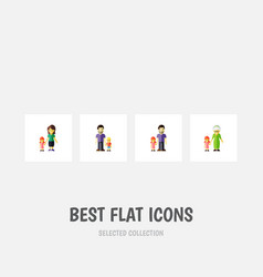 Flat icon people set of son father grandchild vector