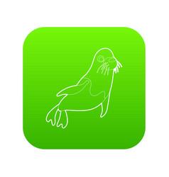 fur seal icon green vector image