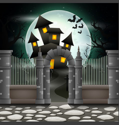 halloween background with house in full moon vector image