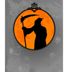 Halloween grim reaper silhouette vector