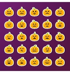 Halloween Pumkin stickers with different emotions vector image