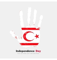Handprint with the Flag of Northern Cyprus in vector