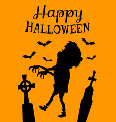 Happy halloween poster with zombie silhouette vector