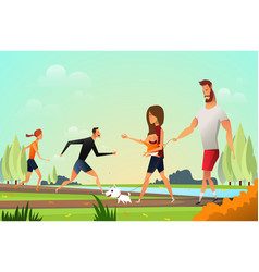 happy young family with a little dog in park and vector image