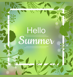 Hello summer green card vector