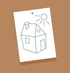 house and sun sketch picture vector image
