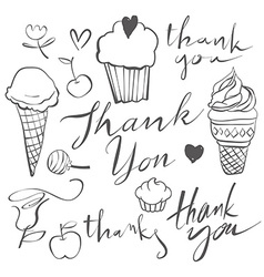 Ice cream set for cards vector image