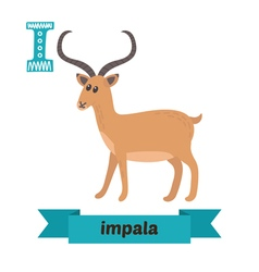 Impala i letter cute children animal alphabet in vector