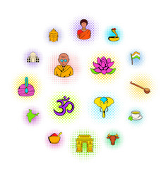 india icons set vector image
