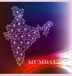 India map of polygonal mosaic lines rays vector