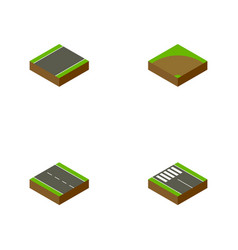 Isometric road set of sand strip single-lane vector