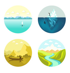 Landscape icons flat set isolated on white vector