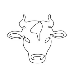 line cow head milk and beef meat farm logo dairy vector image