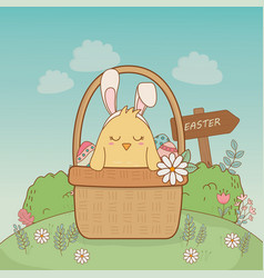 little chick with ears rabbit easter character vector image