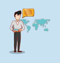 man chatting world connection social media vector image