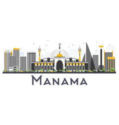 Manama bahrain city skyline with gray buildings vector