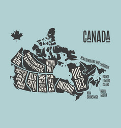 map canada poster map provinces and vector image