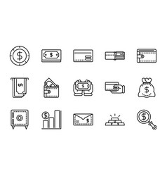 money business cash finance icon collection line vector image