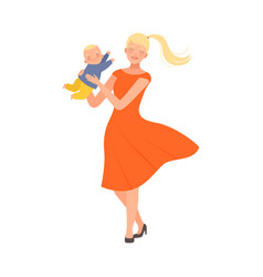 Mother is spinning with her bacharacter vector