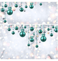 new year backgrounds with green christmas balls vector image