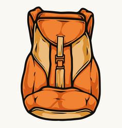 Orange travel backpack template vector