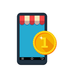 Payment via smartphone contactless payment vector