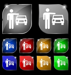 person up hailing a taxi icon sign Set of ten vector image