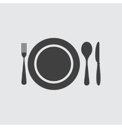 Plate spoon knife and fork icon vector