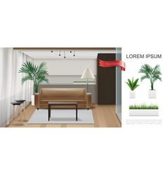 Realistic home interior template vector