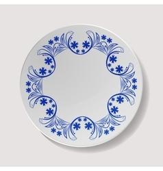 Realistic Plate Closeup Porcelain vector image
