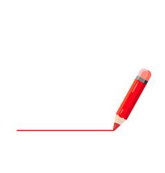 Red pencil draws a line underline in vector