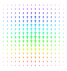 religious cross shape halftone spectrum pattern vector image
