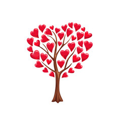 romantic tree love with hearts vector image