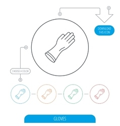 Rubber gloves icon Latex hand protection sign vector image vector image