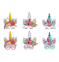 set isolated cute unicorn faces vector image