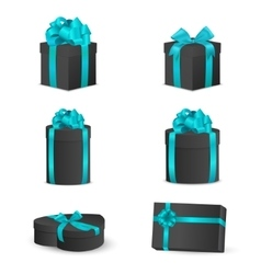 Set of black gift boxes with blue bows and ribbons vector