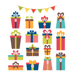 set of different gift boxes christmas presents vector image vector image