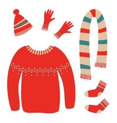 Set warm clothes vector