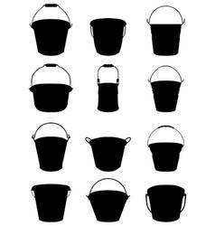 Silhouettes garden buckets vector