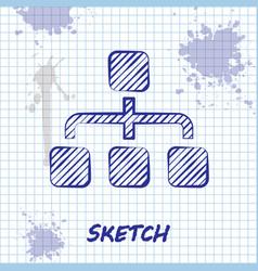 Sketch line business hierarchy organogram chart vector
