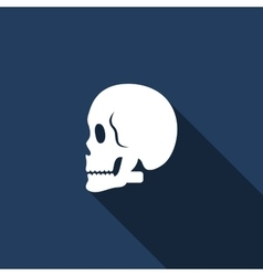 Skull icon with long shadow vector