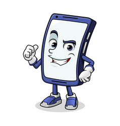 Smartphone mascot giving a thumbs up vector