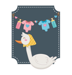 Square frame with stork vector