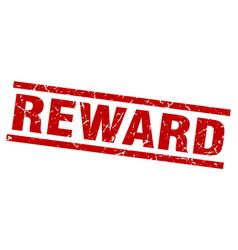 Square grunge red reward stamp vector